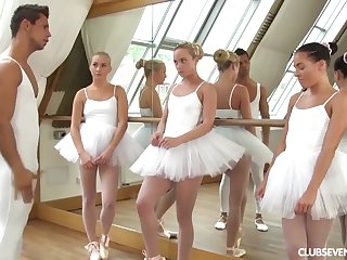 three youthfull lil' ballerinas share manmeat of teacher after exercise
