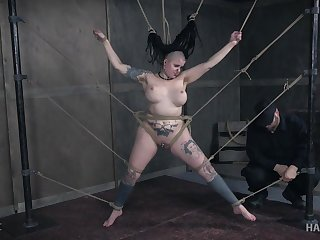 Heavily tattooed and pierced chubby Luna Lavey gets tortured hardcore