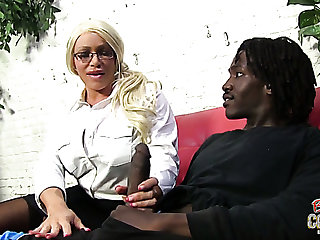 Mature and kinky blonde woman wants to suck huge black dick of a young man