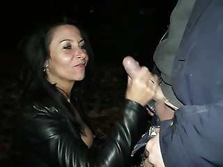 Real German street slut Lady Paris provides trucker with a blowjob at night