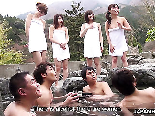 Four naughty Japanese girls including Mitsuka Koizumi join men for sex