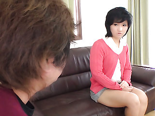 Short haired cute Japanese nympho Saki Umita gets toy in anus while riding dick