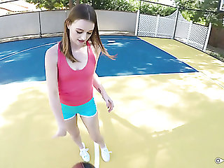 Sexy basketball player Danni Rivers gets her juicy pussy fucked outdoors