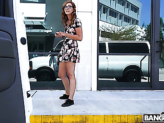 Nerdy giggling Kadence Marie gets nailed hard enough in the van